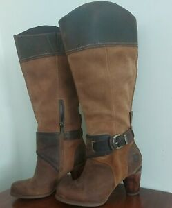 TIMBERLANDS HEELED LEATHER KNEE BOOTS SIZE 4 37 WOODEN HEEL