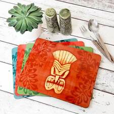 Tiki Mask Placemats, 50s Tiki Decor, Tkii Tableware, Hawaiian Style table decor