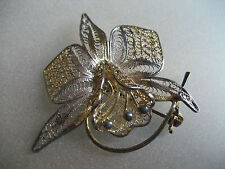 VINTAGE STERLING SILVER FLOWER ORCHID ? BROOCH MADE IN ITALY