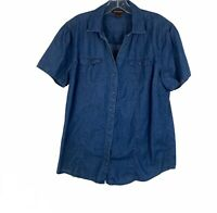 Bit & Bridle Blue Chambray Denim Western Button Up Shirt Womens Size Large L