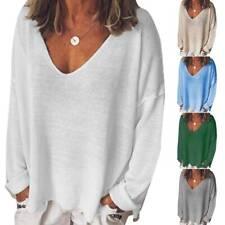 Pullover V-Ausschnitt Pulli Damen Sweater Sweatshirt Freizeit Jumper Winter Tops