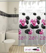 Duschvorhang Zen 180x180 cm Stoff Beschwerungsband + Ringen Bad Wanne
