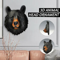 Bear Ornament Animal Head Resin Sculpture Wall Hanging Home Office Decor ! ~