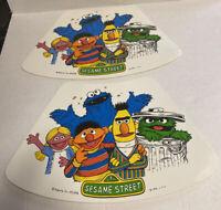 2 LOT Vintage 1976 Sesame Street Placemats Burt Ernie Cookie Oscar CTW FREE Ship