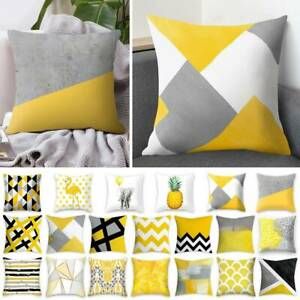 Cushion Cover Mustard Yellow Geometric Sofa Cushion Cover Case 18 inch / 45cm