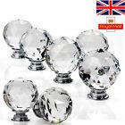 16pcs Clear Crystal Glass Door Knob Cupboard Drawer Cabinet Kitchen Handles UK