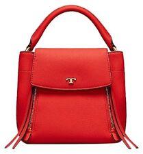 NWT TORY BURCH Half Moon Satchel Crossbody Leather Bag in poppy orange red $398