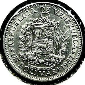 VENEZUELA - Un (1) Bolivar - 1967 -  BU. Nickel Coin .