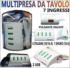 PRESA MULTIPLA SCARPETTA CIABATTA 7 INGRESSI 4 ITALIANI 1 SHOUKO 2 PORTE USB