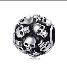 Skull Charm Bead Black Silver Plated European Hair Toy Home Phone Case Nail