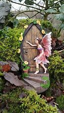 LARGE Fairy Door Elf Pixie Steps Wooden Stone Magical Garden Outdoor 19cm