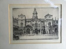 Antique Etching/ Engraving - The Horse Guards, London - In Mount D.m.Clark sign.