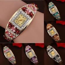 Luxus Damen Uhr Watch Quarz Armbanduhr Gold Blume Strass Kristall Armband Analog