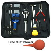 17 PCS Watch Repair Tool Kit Case Opener Link / Hand Remover with Carrying Case