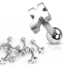 """Gothic Cross Surgical Steel Tragus Helix Cartilage Stud Ring 16g 1/4"""""""