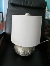 "16"" Tall Unique Matte Silver Table Lamp Sea Urchin Electric Nautical Ocean Theme"