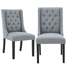 Modern Tufted Fabric Padded Parsons Chair Dining Chairs for Home Office Set of 2