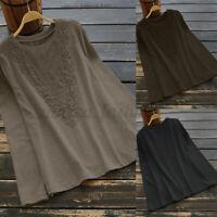 Jolie Femme O-Cou Loisir Ample Couture en Dentelle Manche Longue Chemise Shirt