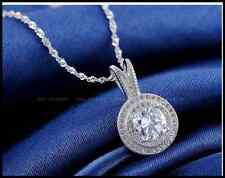 18K Platinum Plated Clear Round 1.25CT Arrow & Heart CZ Crystal Necklace Pendent
