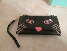 URBAN OUTFITTER faux leather wallet clutch cat design very cut NWOT