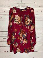 Blu Pepper Women's M Medium Burgundy Floral Long Ruffle Sleeves Tunic Top Blouse