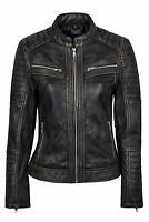 New Women Cafe Racer Moto Biker Distressed Black Vintage Real Leather Jacket