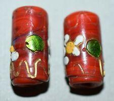 Antique Venetian Red Lampwork Glass Wedding Cake Italian Beads, African Trade