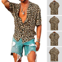Men's T Shirts Leopard Printed Short Sleeve Casual Party Holiday Shirts Tee Tops