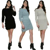Womens Bobble Knitted Sweater Jumper Mini Short Dress Ladies Long Sleeve Top