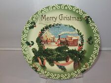 Clay Art MERRY CHRISTMAS VINTAGE POSTAGE STAMP Green Salad Sandwich Plate - New