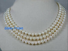 stylish 3 row 6-7mm natural Akoya AAA white round pearl necklace 14k Gold clasp
