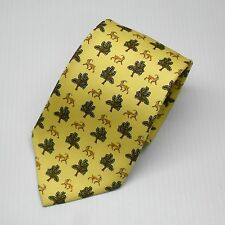 New with tags $95 Olimpo Tie Beige with Ibex Pattern 100% Silk Made In Spain
