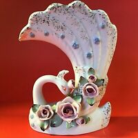 "PEACOCK VASE HAND DECORATED MID CENTURY MODERN 7"" PINK ROSES 1960 VINTAGE NAPCO"