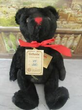 """HERMANN TEDDY BEAR -VALENTINO- BLACK MOHAIR 12"""" LTD EDITION 47/200 WITH GROWLER"""