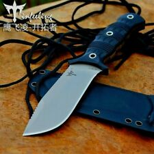 Drop Point Knife Fixed Blade Hunting Combat Tactical Jungle Wild Kydex Sheath 4""