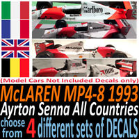 McLAREN MP4-8 1993 F1 water slide decals France UK Germany MARLBORO + More 1:43