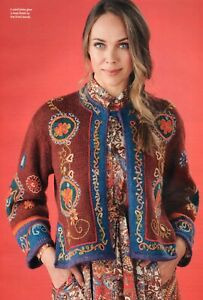 """~ Pull-Out Knitting Pattern For Lady's Beautiful Embroidered Jacket ~ 30"""" ~ 52"""""""