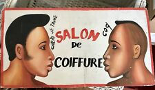 Salon de Coiffure Cheri Je Taime Haitian art advertisement handpainted on wood
