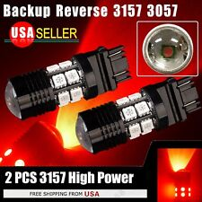 2 X 3157 12SMD Red High Power LED Reverse Back up Brake Tail DRL Lights