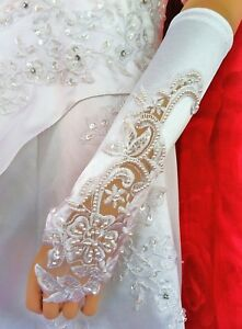 LadyMYP© Edele Brauthandschuhe/Stulpen mit Fingerschlaufe, fingerlos weiß/Ivory