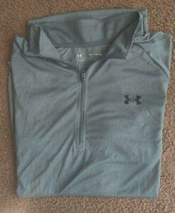 UNDER ARMOUR Mens 1/4 Zip Pullover Shirt Size 2XL, Teal Green