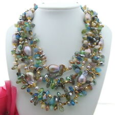 "FC121308 18"" 4 Strands 25MM Keshi Pearl Crystal Necklace"