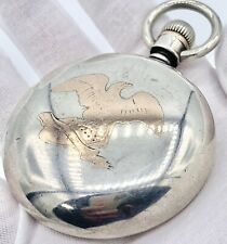 Vintage Crescent CWCO Sterling 18s Open Face Pocket Watch Case Gold Eagle Inlay