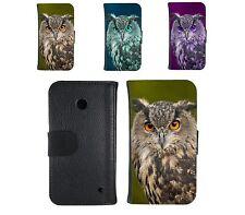 Book Tasche für Handy Design Schutz Hülle Case Cover Etui Wallet Motiv owl Eule