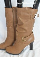 Style & Co Amorie sz 9 tan faux leather fash mid calf boots $79