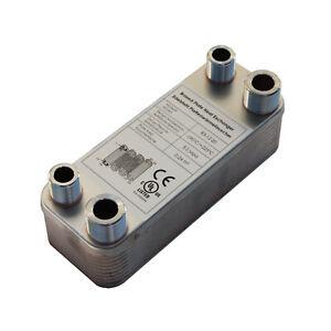 Plattenwärmetauscher B3-12-20 mit 2x1/2 & 2x3/4 Zoll Anschl. 45kW Heizung Solar