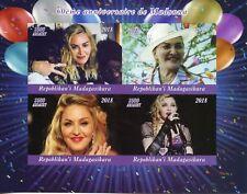 Madagascar 2018 MNH Madonna 60th 4v IMPF M/S Music Popstars Celebrities Stamps