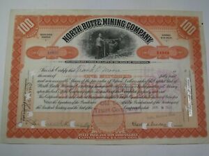 1908 North Butte Mining Company Stock Certificate.  #124