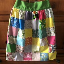 Patchwork Floral Waist Apron 50s 60s Pink Green Yellow Kitchen Chef Cook Vtg