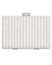 "💯 INC Int. Jennyfer Imitation Pearl Clutch 23"" Removable Strap White Silver $99"
